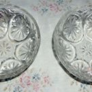 Two Vintage Anchor Hocking Stars & Cameo Medallion Pattern Berry Bowls