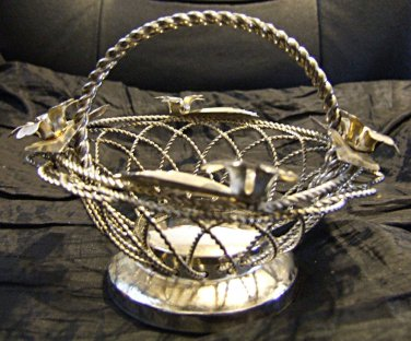 Silver plate basket with Handle, Decorated with Flowers