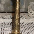Lacquered Brass Candle Stick with Basket Weave Pattern from India