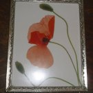 "Vintage Gold Metal Frame w/ Art Print Poppies, 8"" X 10"" Footed"