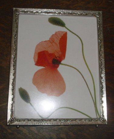 """Vintage Gold Metal Frame w/ Art Print Poppies, 8"""" X 10"""" Footed"""