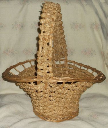 """Vintage Hand-Braided & Woven Sea Grass and Rattan Gathering Basket w/Handle 18"""""""