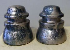 Two Hemingray 45 Clear Glass Insulators, Painted Blue and Silver Marbled