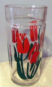 """Vintage 50's Tea or Water Glass with Red Tulips, 6"""" Tall"""