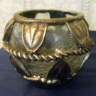 Crackle Glass Candleholder with Gilded Resin Trim (Brass Look)