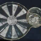 Very Unusual Glass Snack Set of Four, Sun Ray Pattern formed by Tiny Beads
