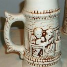 Large Stoneware Beer Stein Mug Brown and Ivory, Man and Woman Drinking at Table