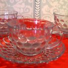 Anchor Hocking, Three Sets Ice Blue Bubble Pattern Cups and Saucers