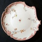 Antique Rosenthal Savoy Shape Pierced Plate, Floral Pattern Pink Edge, 1898-1906