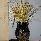 Vintage Black Vase with Gold Trim & Gold Lined Floral Pattern, on Wheeled Cart