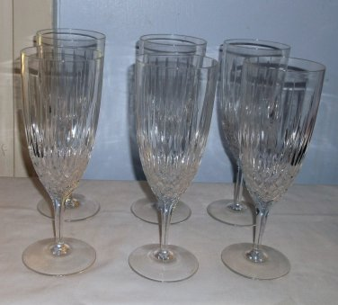 Six Lead Crystal Diamond and Facet Water Goblets