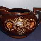 Mid-century Japan Moriage Red Ware Creamer, Stylized Floral Pattern