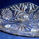 Vintage Pressed Glass Triangular Ash Tray, 3 Short Feet