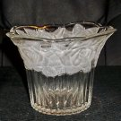 Small Glass Bowl with Frosted Roses Around Top, Almost Basket Shaped