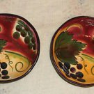 Two CLAY ART Wine Garden Grapes Design Small Bowls Handcrafted Disc. Pattern