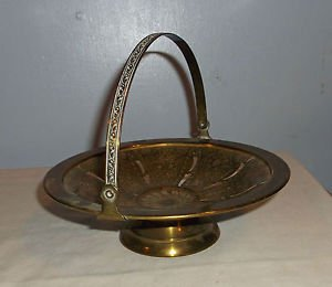 Vintage Shallow Brass Pedestal Bowl, Handle and Cut-outs in Bottom