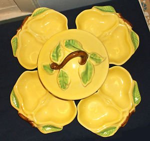 Mid Century Belmar Of California Yellow Pottery Pear Bowls Chip'n'Dip Set, USA