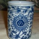 Takahashi Blue and White Tea Cup, Sake Cup Sunflower Design