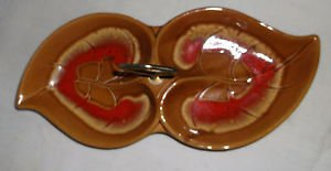 California Pottery 2 Compartment Leaf Relish Tray w/Handle from Maurice of Calif