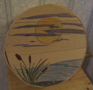Vintage Cheese Box (actually was a cheese box) With Painted Scene
