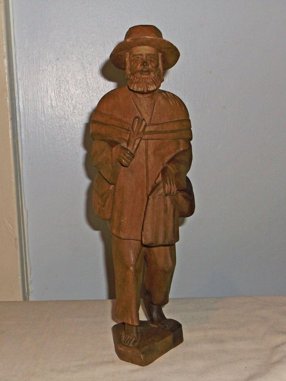 Vintage Hand Carved Wood Figure from Ecuador, Traveling Man w/Pack & Bundles