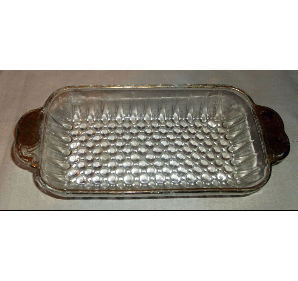 Retro Clear Glass Divided Relish Dish with Gold Trim - Hobnail Design