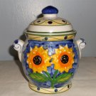 Sunflower Handled Sugar/Candy Bowl with Lid
