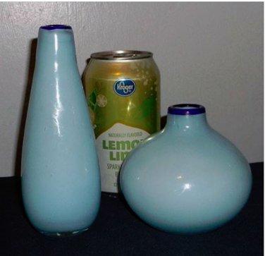 Two Small Vases, Robin's Egg w/Cobalt Rim