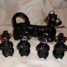 Vintage Black Poodle Syrup Flask w/ 4 hang-on Salt & Pepper Pups, Japan