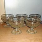 Five Hobnail Depression Glasses, Champagne/Tall Sherbet