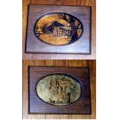 Two framed pieces of reverse painted glass w/ copper foil backing, rural scenes