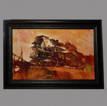 Framed Train Print with Pencil Drawing on Back