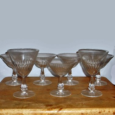 "7 Tiffin Cut Crystal  Goblets ""Silhouette"" 6 Champagne/Sherbets, 1 Water Goblet"