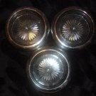 Three Vintage Silver Plate Rim Glass Coasters