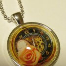Dome Necklace with Brown Clock & Flower