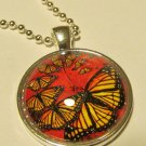 "Dome Necklace with Butterflies in Red & 24"" Chain"