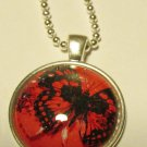 """Handmade Dome Necklace with Black Butterfly & 24"""" Chain"""