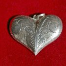 Large Sterling Silver Etched Heart Pendant