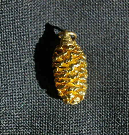 Gold Pine Cone Pendant