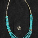 Liquid Sterling Silver and Turquoise Necklace #027