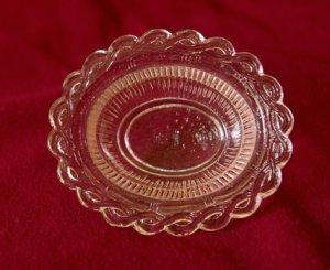 Tiny Miniature Pink Pressed Glass Bowl
