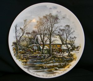 """Currier & Ives """"Winter in the Country-The Old Grist Mill"""" Collectors Plate"""