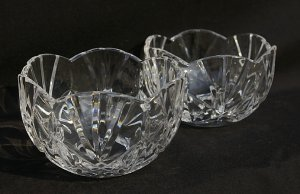 Two Clear Lead Crystal Candle Globes