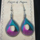Earrings Teal Purple Black Thread Spirit Nature Peru Natives Silver New our60#
