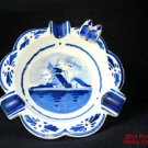 Delft Wooden Shoes Ash Tray Windmill Holland Perfect Cobalt Blue White #f