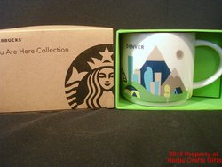 Denver You Are Here Starbucks Coffee Mug Cup Light Blue Inside 16 oz New #f