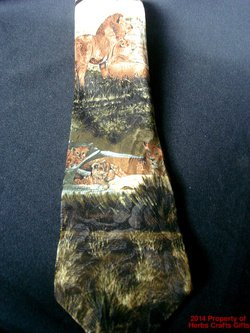 Neck Tie Lion Lioness Cubs Endangered Species Silk Made USA Leo #f