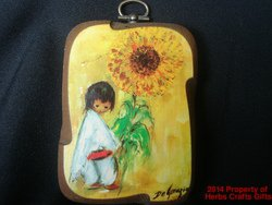 Sunflower Boy DeGrazia Paper Print on Wood Plaque 1970s 4x3 inch #f