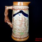 German Beer Stein Pitcher Embossed 2 Men 1 Woman Wood Look Handle Mug Vintage .s