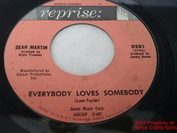 Everybody Loves Somebody 45 RPM Record A Little Voice Dean Martin Reprise .f